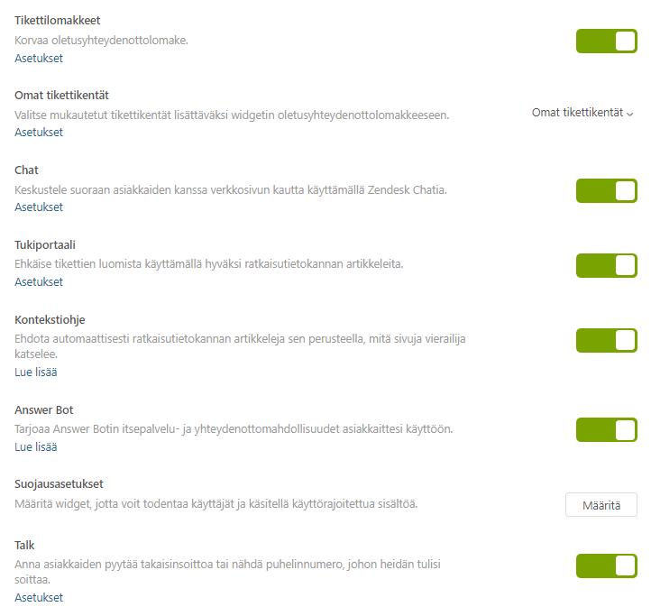 Zendesk widgetin asetuksista, joiden avulla hallinnoidaan sovelluksella tarjottavia kanavia.